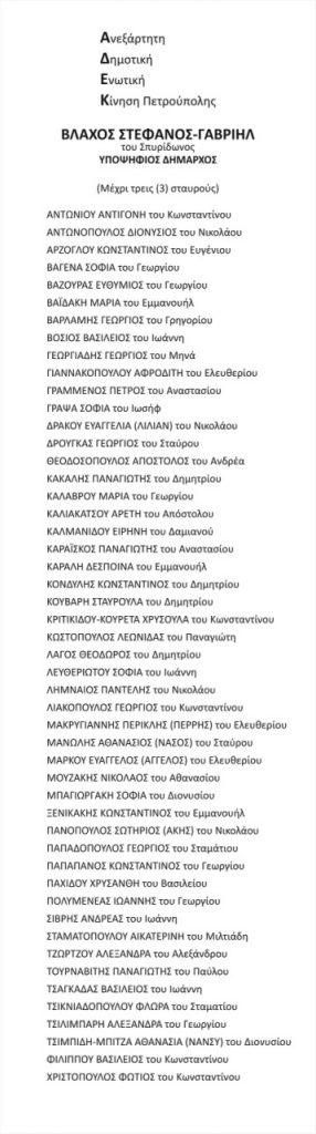 Ψηφοδέλτιο ΑΔΕΚ 2019